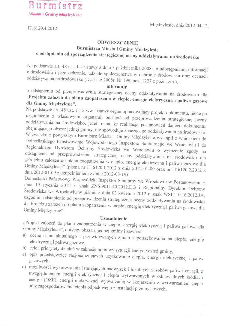 Obwieszczenie Burmistrza Miedzylesia o odstąp od s oceny-1.jpeg